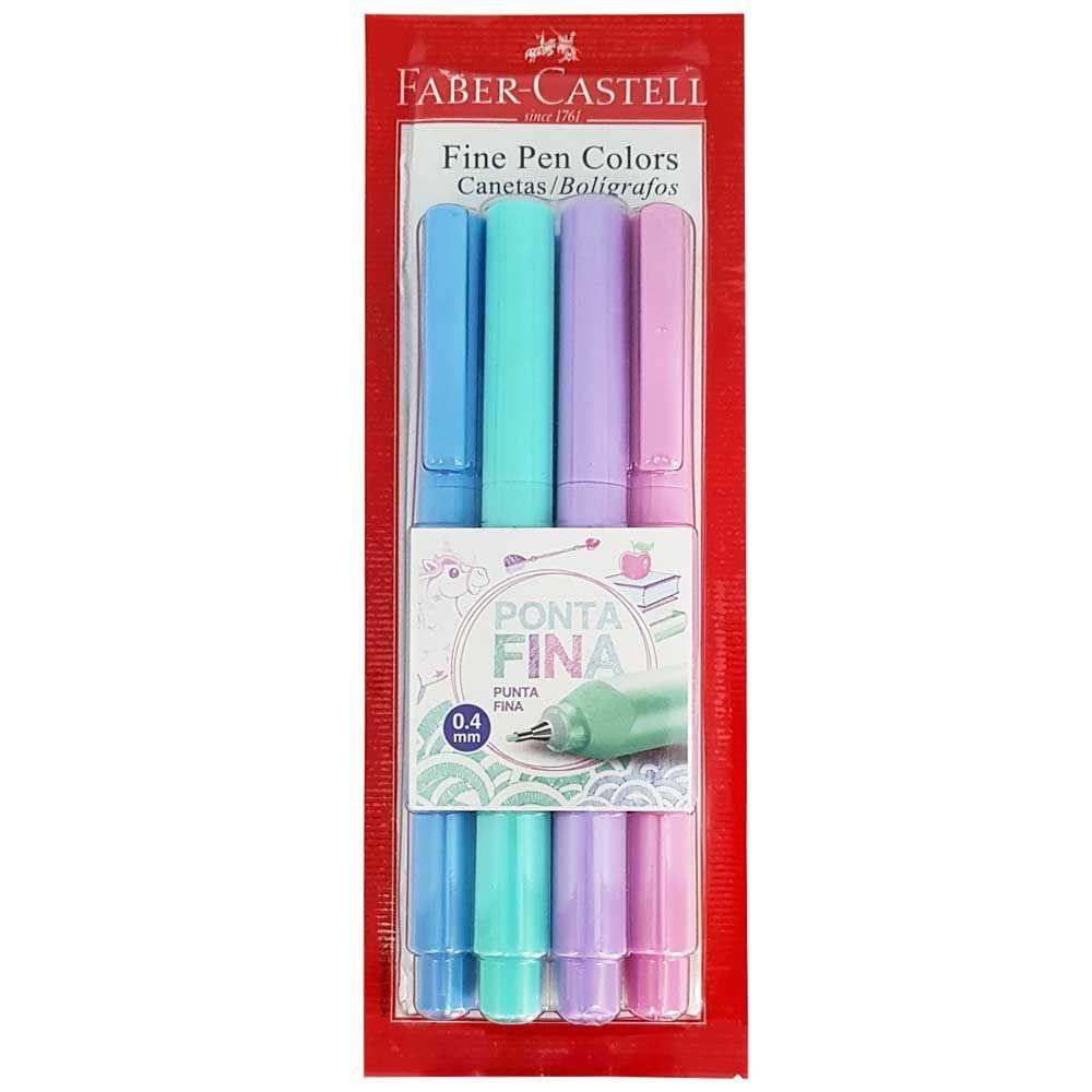 Caneta Fine Pen 4 Cores Pastel 0.4 Faber Castell