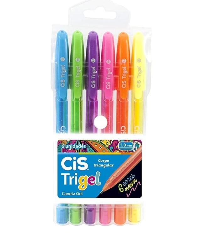 Caneta Gel Neon 1.0mm Kit Com 6 Unidades Trigel CIS