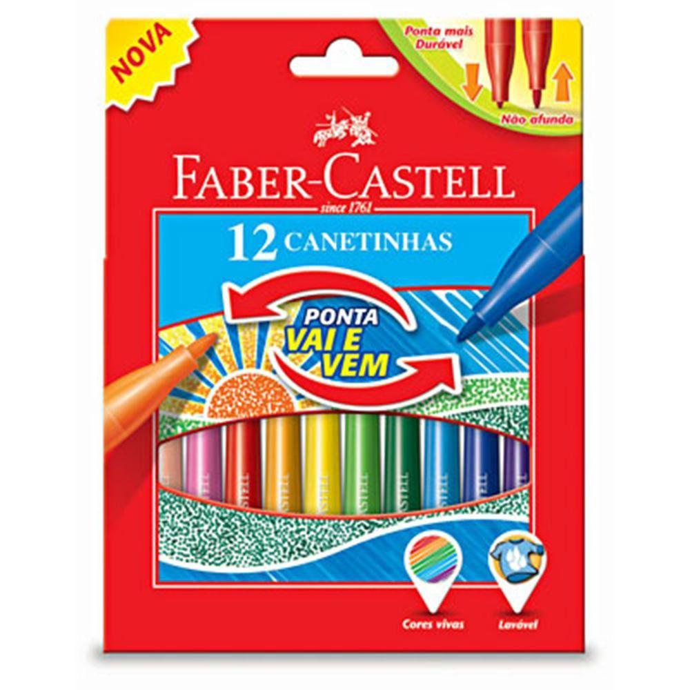 Caneta hidrográfica ponta Vai e Vem - com 12 cores - Faber-Castell