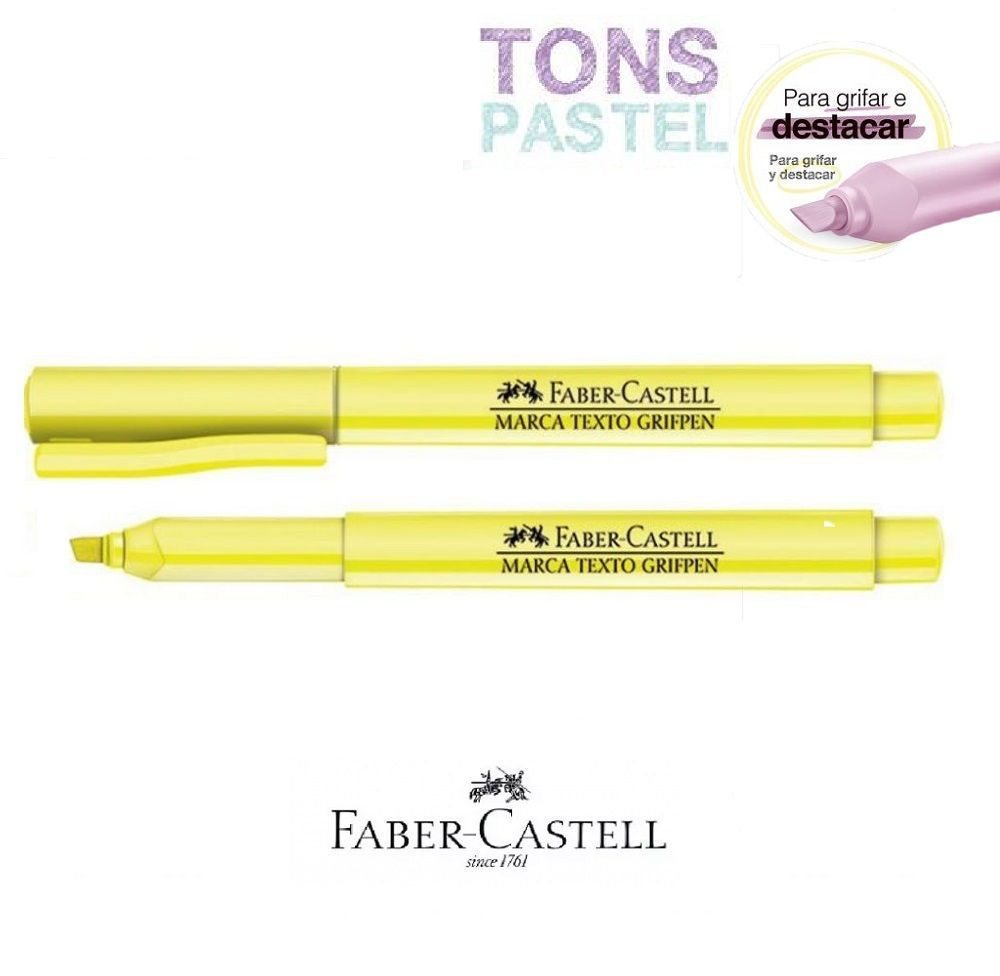 Caneta Marca Texto Grifpen Faber Castell - Amarelo Pastel