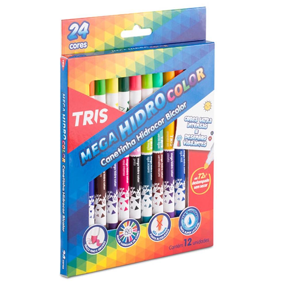 Canetinha Mega HidroColor Bicolor com 12 Unidades - Tris