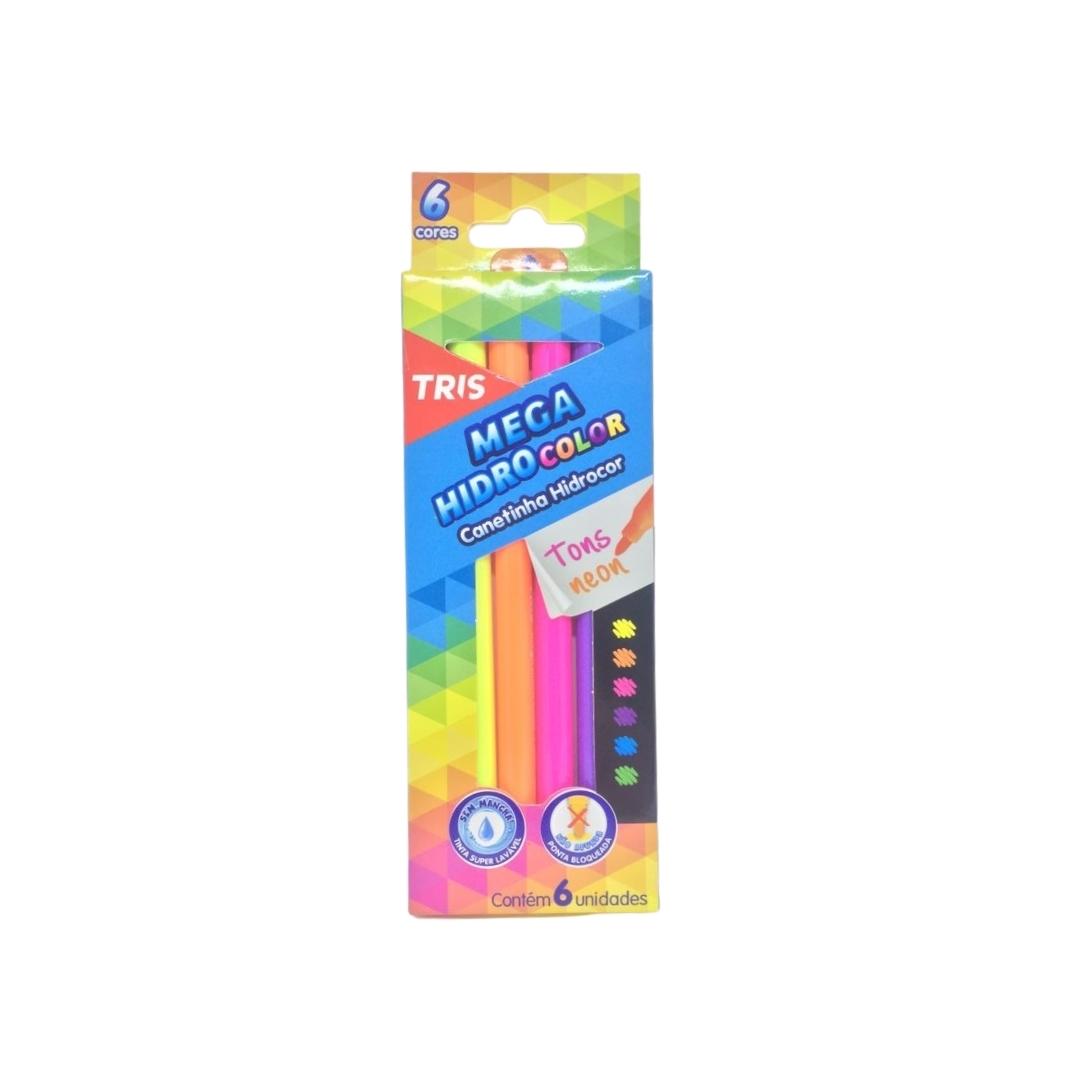 Canetinha Mega Hidrocolor Tons Neon com 6 Unidades - Tris