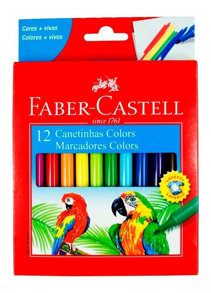 Canetinhas Hidrográficas Colors 12 cores Faber Castell