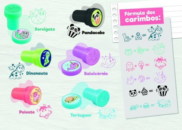 Carimbos Autotintados Animalucos- Cartela com 5 unidades - Tris