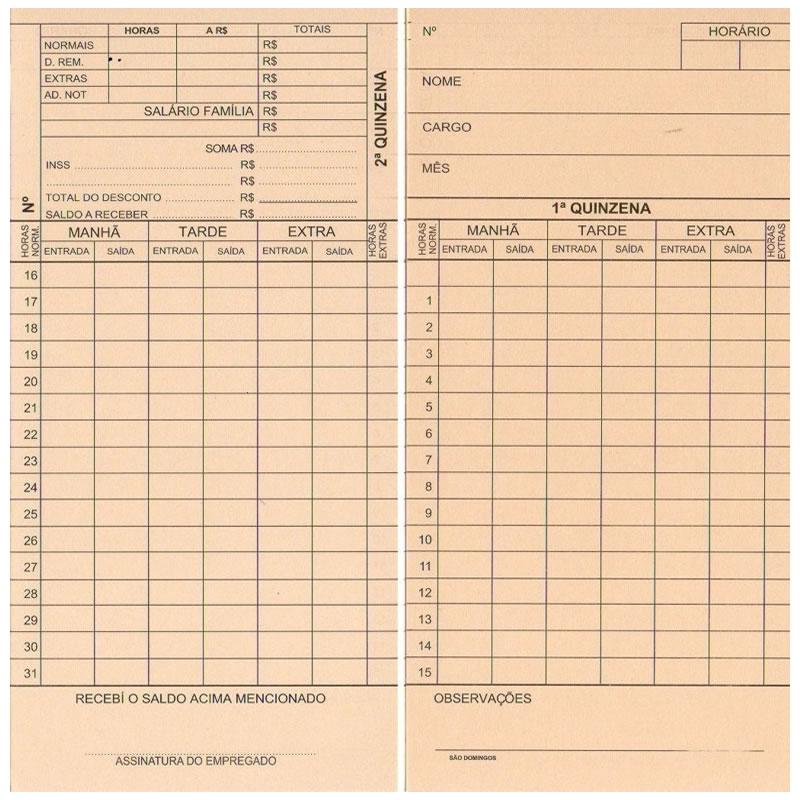 Cartão de Ponto Mensal com 100 Folhas de 86mm X 180mm - São Domingos