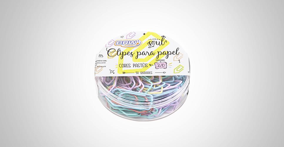 Clipes para Papel com 50 Unidades Tamanho 2/0 Cores Pastéis - BRW