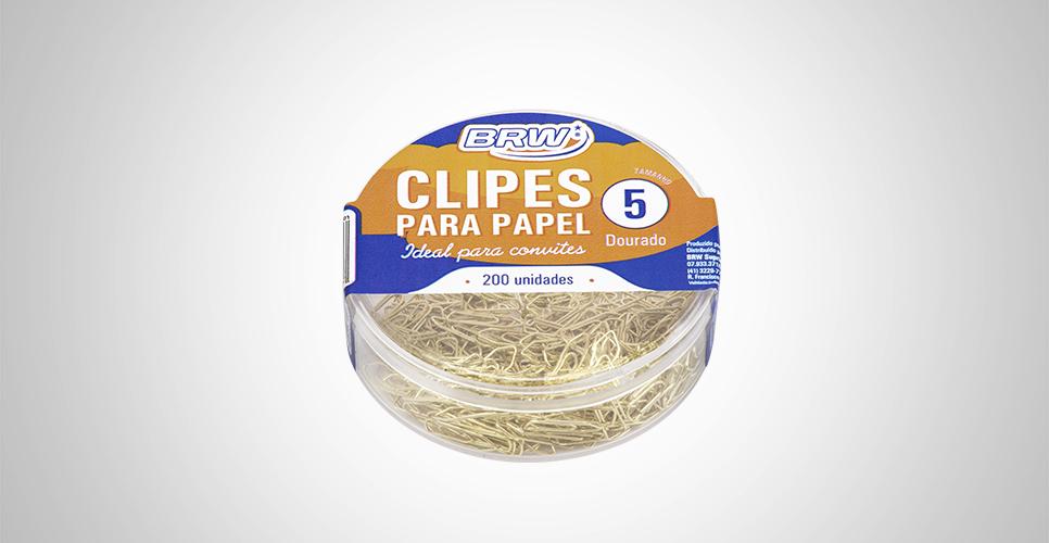Clipes para Papel Dourado Caixa com 200 Unidades Tamanho 5 - BRW