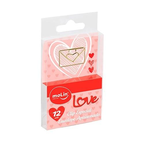 Clips Especial Envelope Apaixonado 12 Unidades Molin