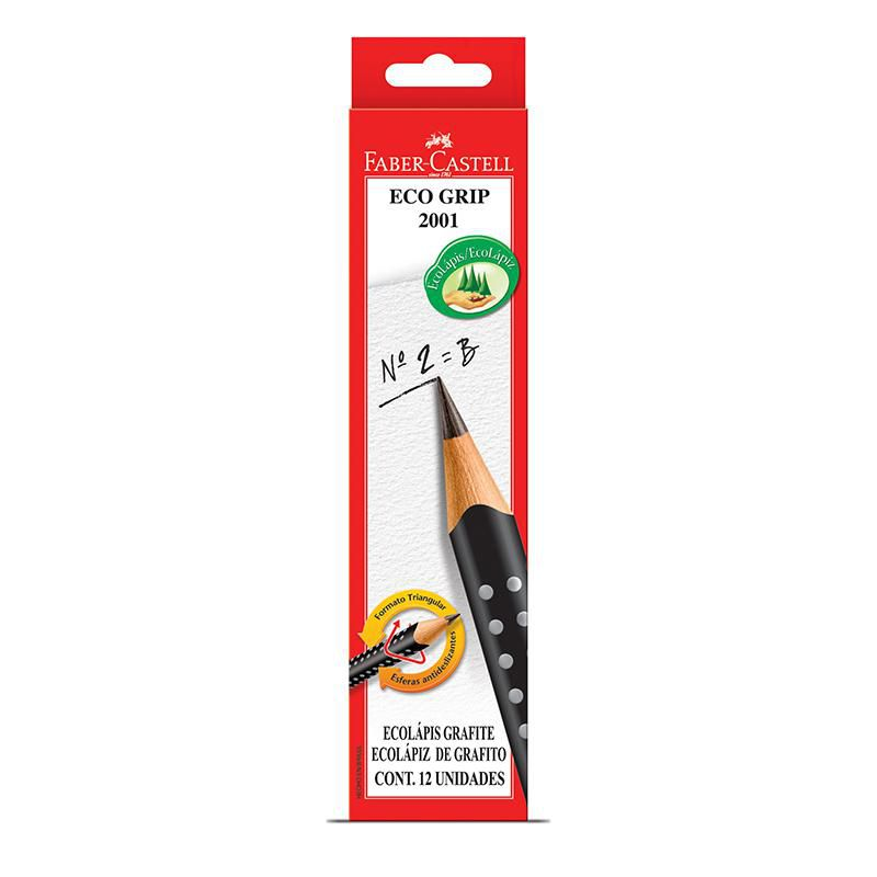 Ecolápis Grafite Grip N.2 B Com 12 Unidades Faber-Castell