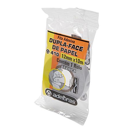 Fita Adesiva Dupla Face de Papel 410 Branca 12mmx10m - Adelbras