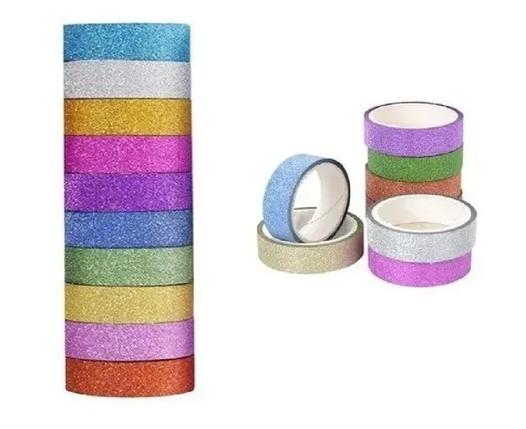 Fita Adesiva Washi Tape Glitter 10 Unid. x 5M Cada - BRW