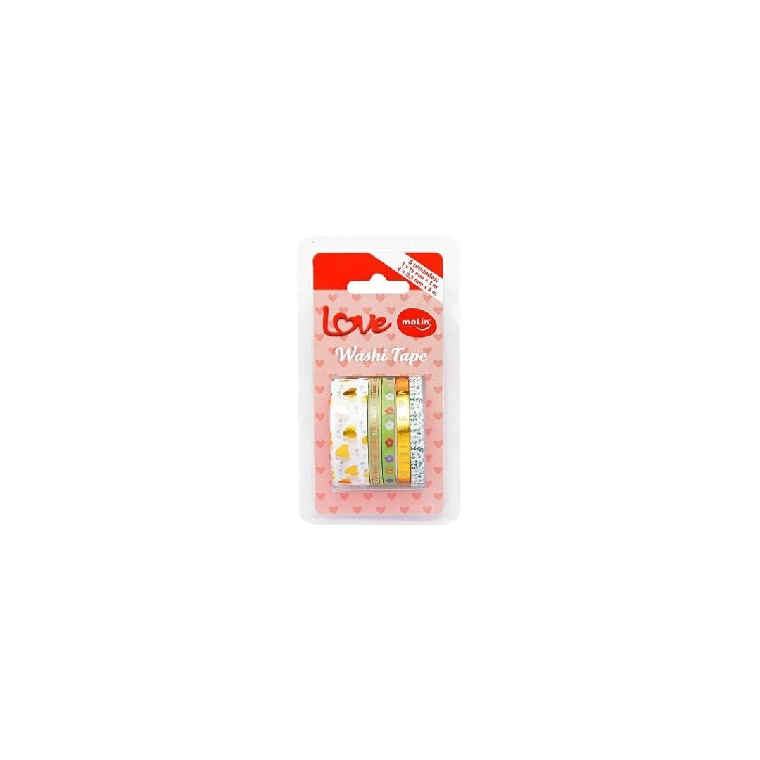 Fita Adesiva Washi Tape Love 5 Unidades - Molin