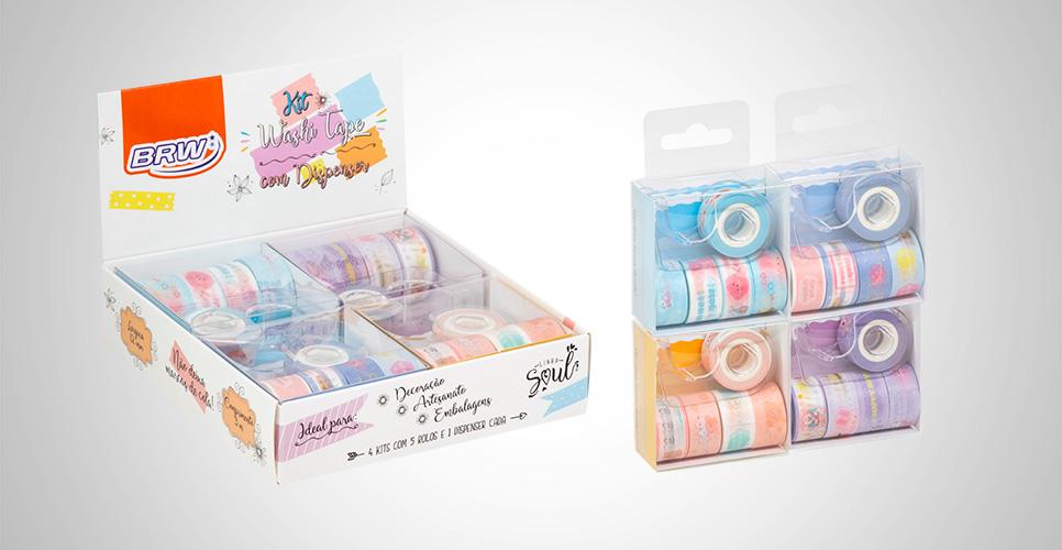 Fita Adesiva Washi Tape Mini Kit com Dispenser e 5 Rolos 12mm x 3m - BRW