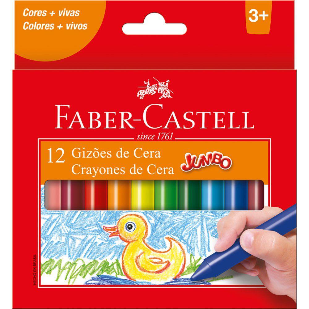 Giz de cera 12 cores gizão 141112N Faber Castell