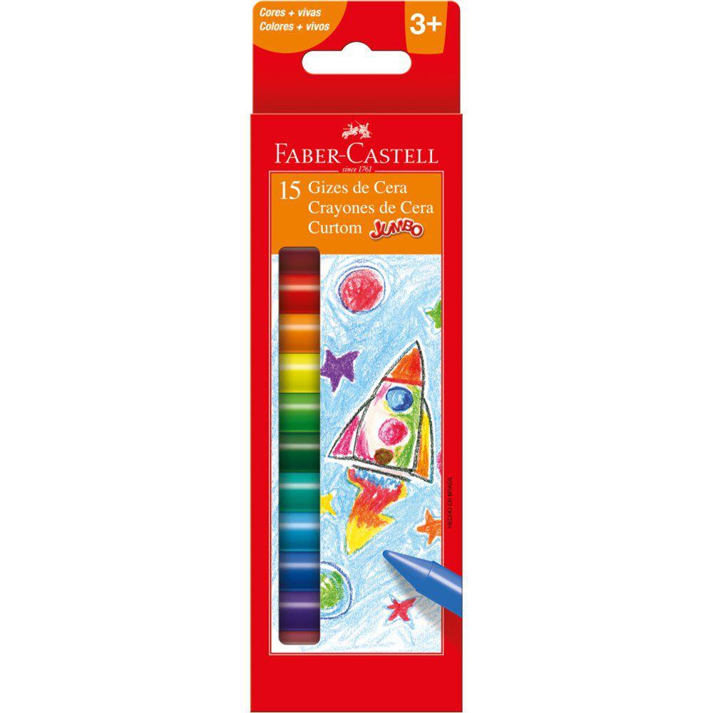 Giz de cera 15 cores curtom Jumbo 141015N Faber Castell