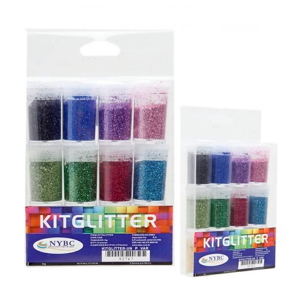 Gliter Colorido - Kit com 12 Cores