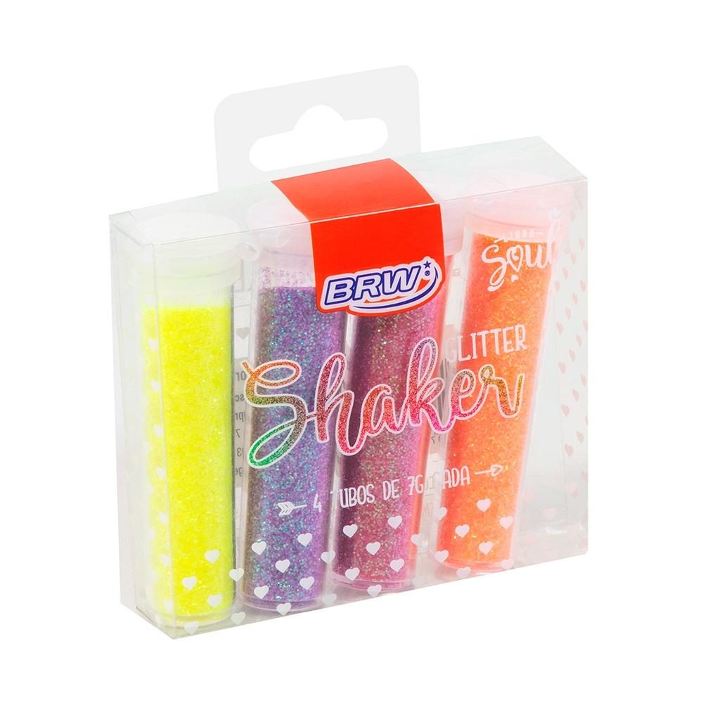 Glitter Shake Neon Blister com 4 unidades de 7g cada - BRW