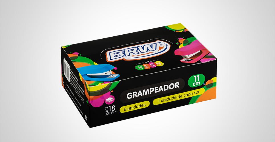 Grampeador Emborrachado Cores Neon Unidade de 10,7cm - BRW