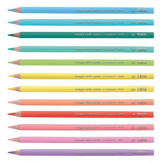 Lápis de Cor 12 cores Mega Soft Color Tons Tropicais - Tris