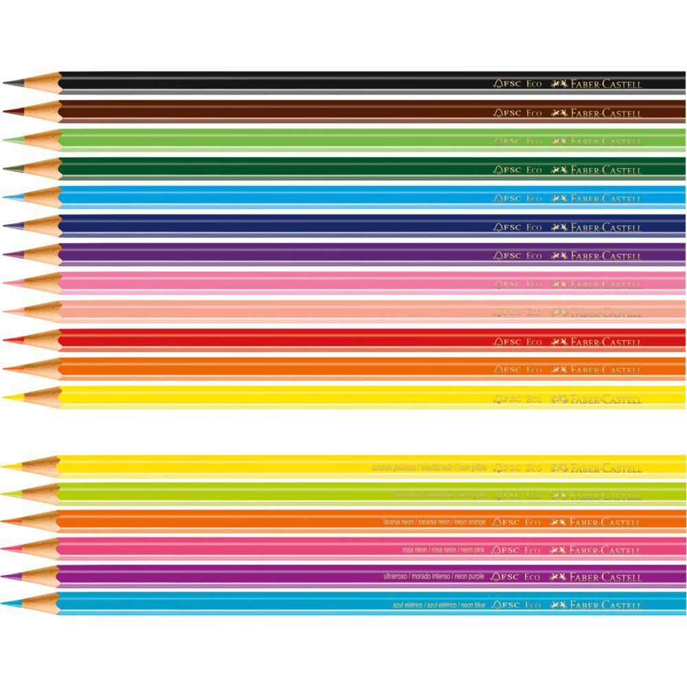 Lápis de Cor 12 cores sextavado 120112+6N Faber Castell