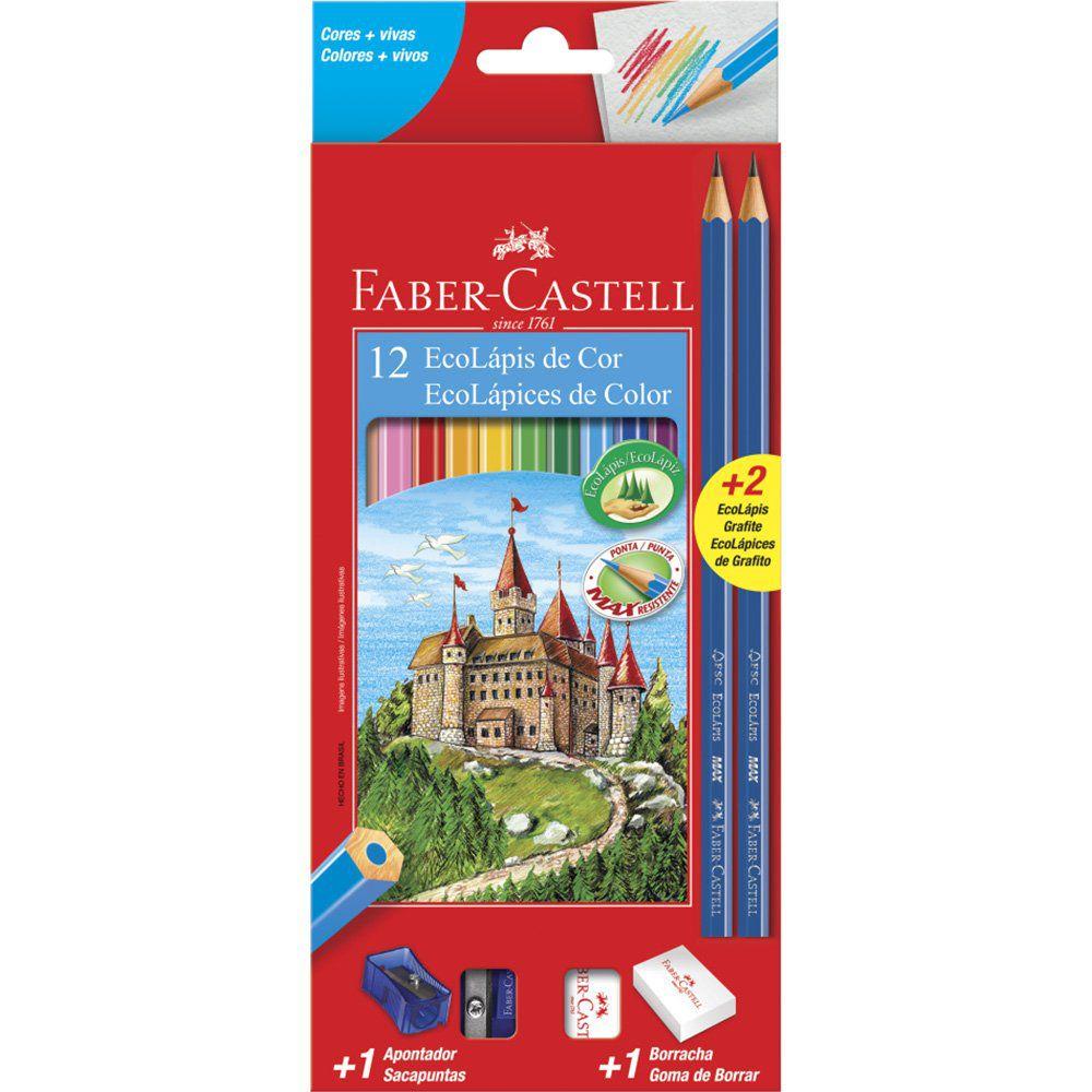 Lápis de Cor 12 cores sextavado (kit) 1201122N Faber Castell