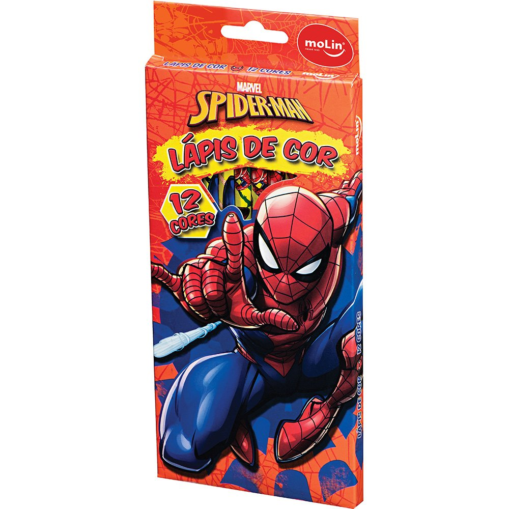 Lápis de Cor 12 Cores Spiderman Marvel - Molin