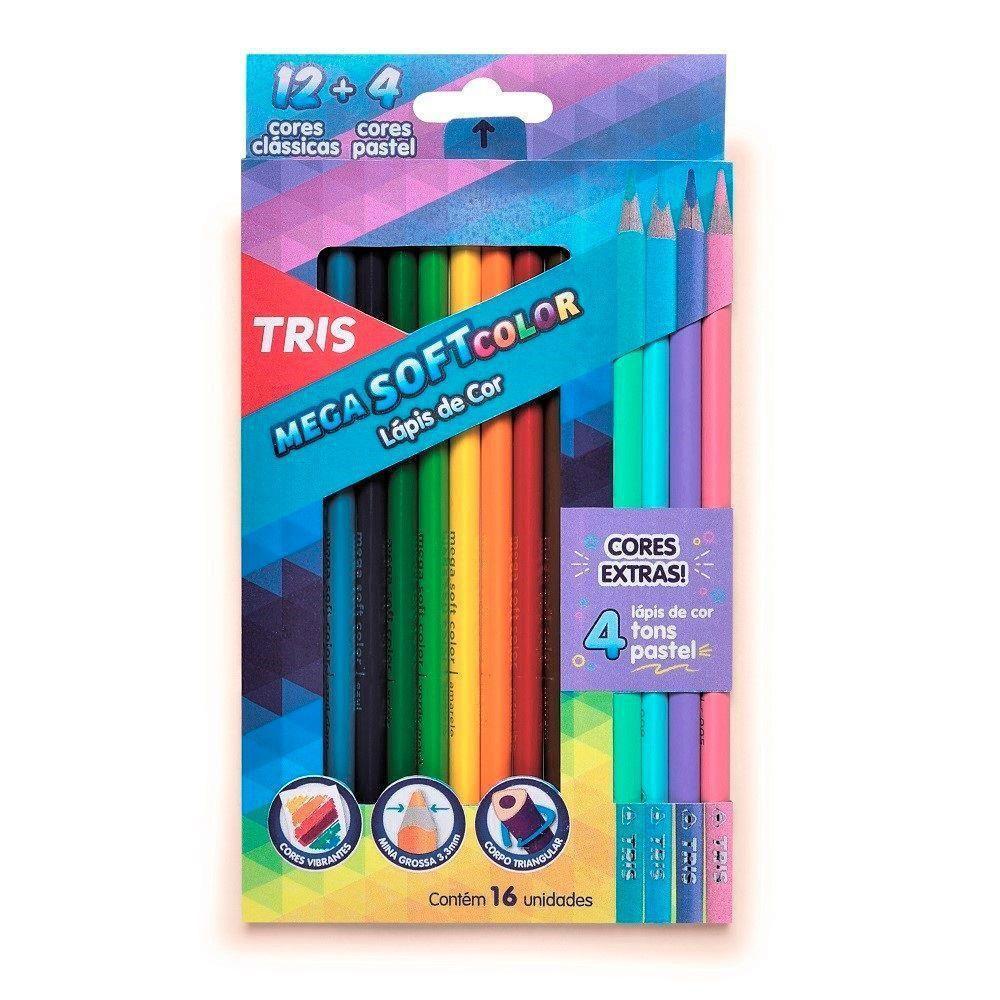 Lápis de Cor 12 unidades + 4 Tons Pastel Mega Soft Color - Tris