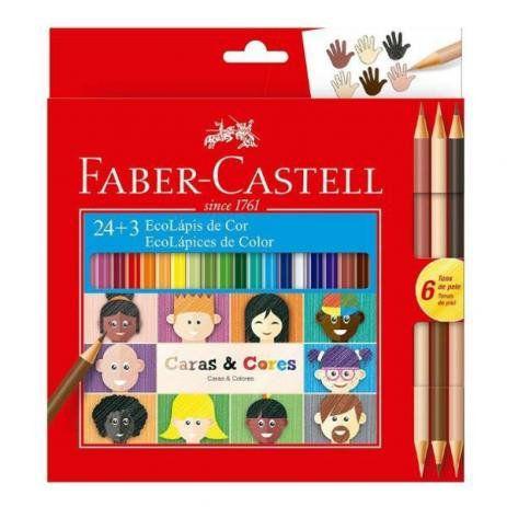Lápis de Cor 24 Cores + 3 Caras e Cores Faber Castell