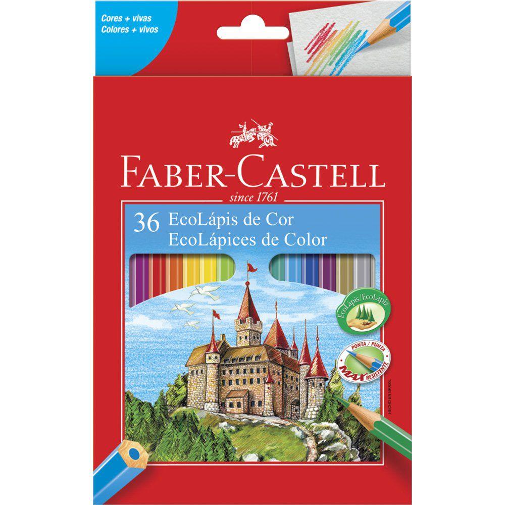 Lápis de Cor 36 cores sextavado Faber Castell