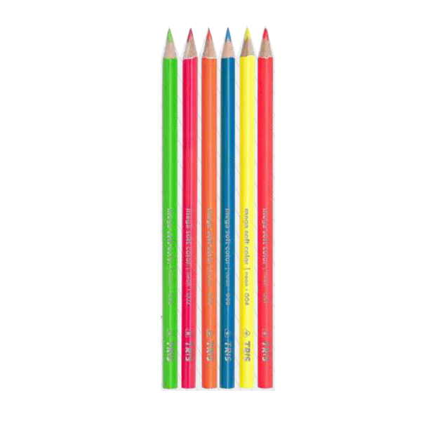 Lápis de Cor 6 Cores Tons Neon Mega Soft Color - Tris