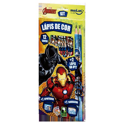 Lápis de Cor Avengers Com 2 Lápis HB N°2 1 Borracha e 1 Apontador - Molin