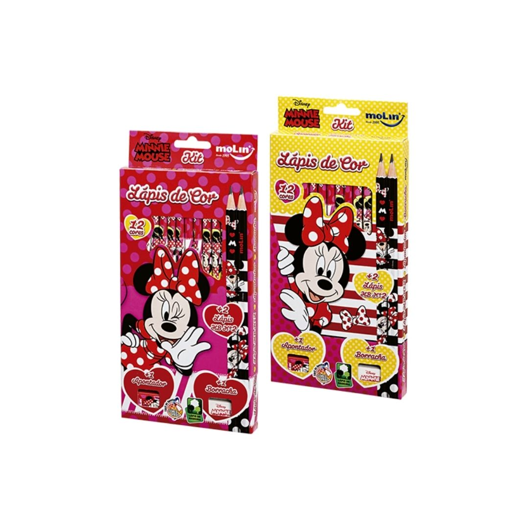 Lápis de cor com 2 Lápis HB N°2 + Apontador + Borracha Minnie Mouse - Molin