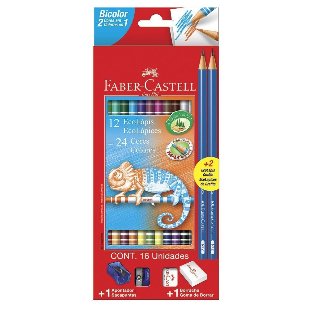 Lápis de Cor Ecolápis Bicolor 12 Lápis/24 Cores + 2 Lápis Nª2, Faber-Castell