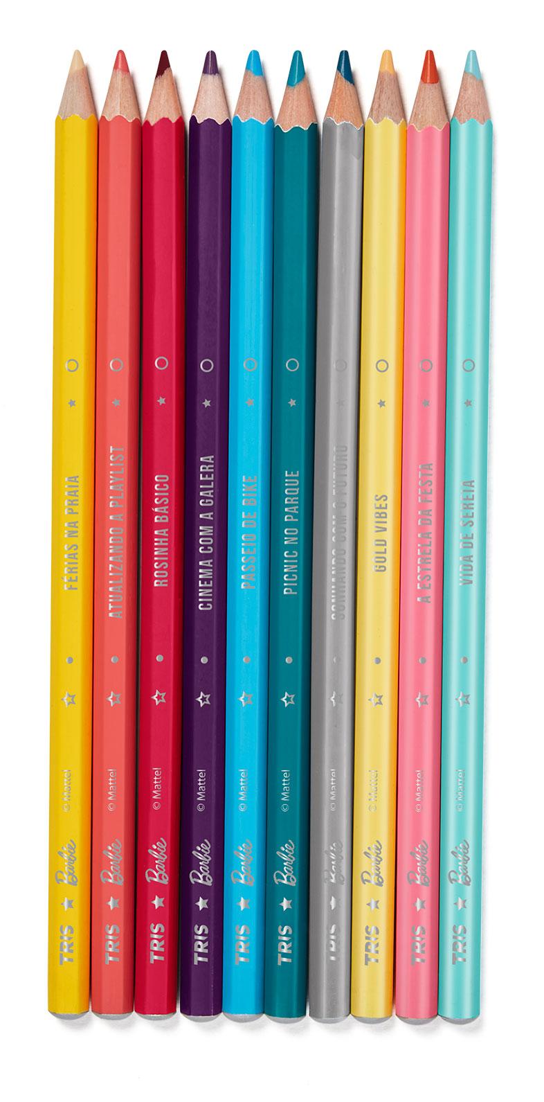 Lápis de Cor Especial Barbie com 10 Cores Fashion - Tris