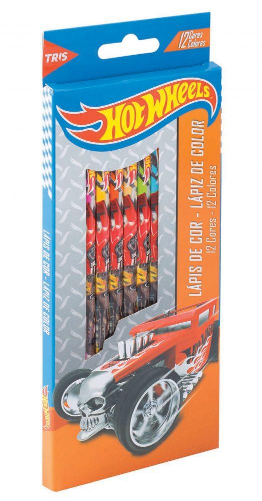 Lápis de Cor Hotwheels com 12 cores  - Tris