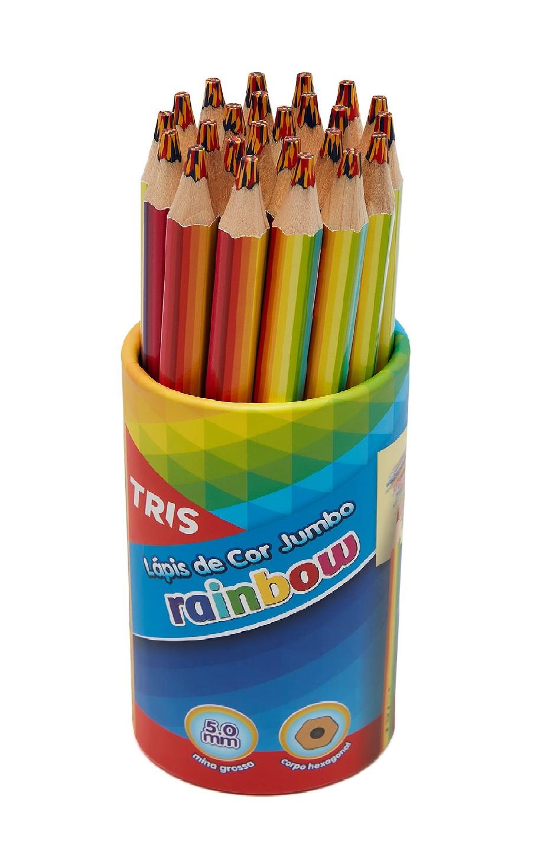 Lápis de Cor Jumbo Sextavado Rainbow - Tris