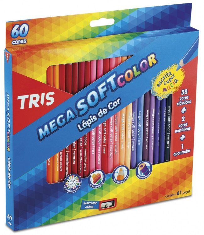 Lápis De Cor Mega Soft Color 60 Cores – Tris
