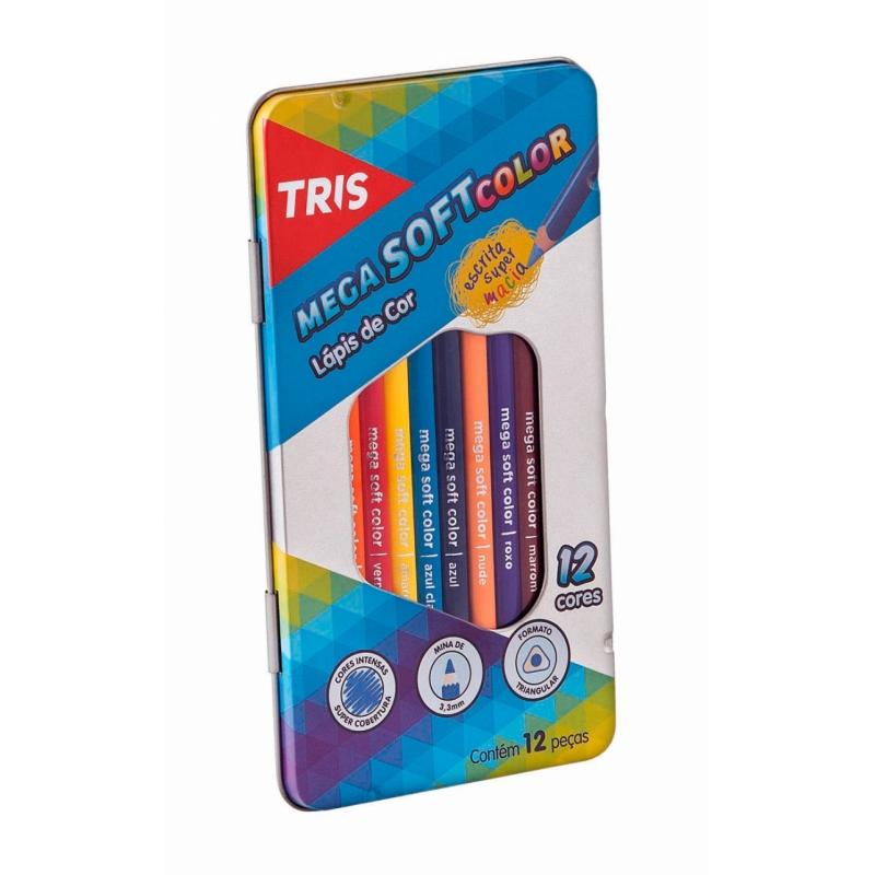 Lápis de Cor Mega Soft Colors 12 Unidades com Estojo Metal - Tris