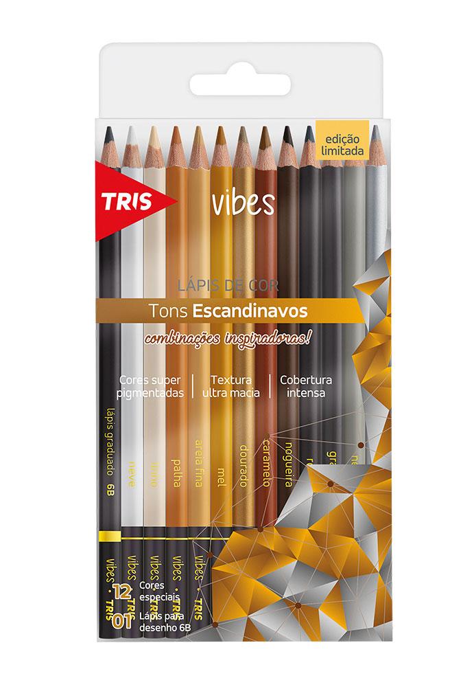 Lápis de Cor Vibes Tons Escandinavos 12 Cores Especiais + 1 Lápis para Desenho 6B - Tris