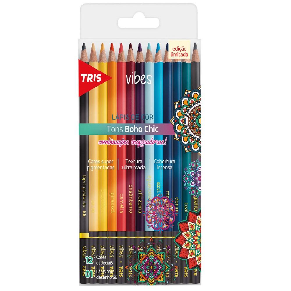 Lápis de Cor Vibes Tons Boho Chic com 13 Unidades - Tris