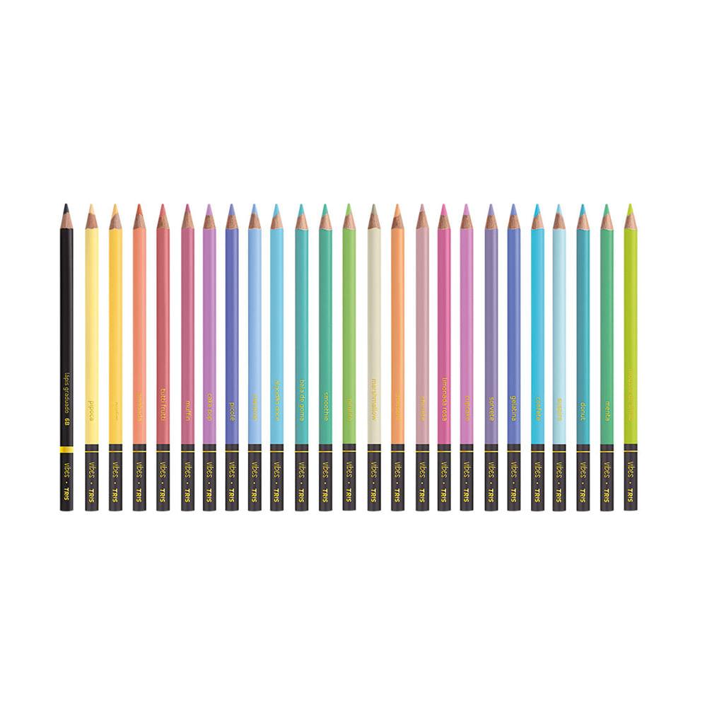 Lápis De Cor Vibes Tons Pastel com 24 Cores Especiais + 1 Lápis para Desenho 6B - Tris