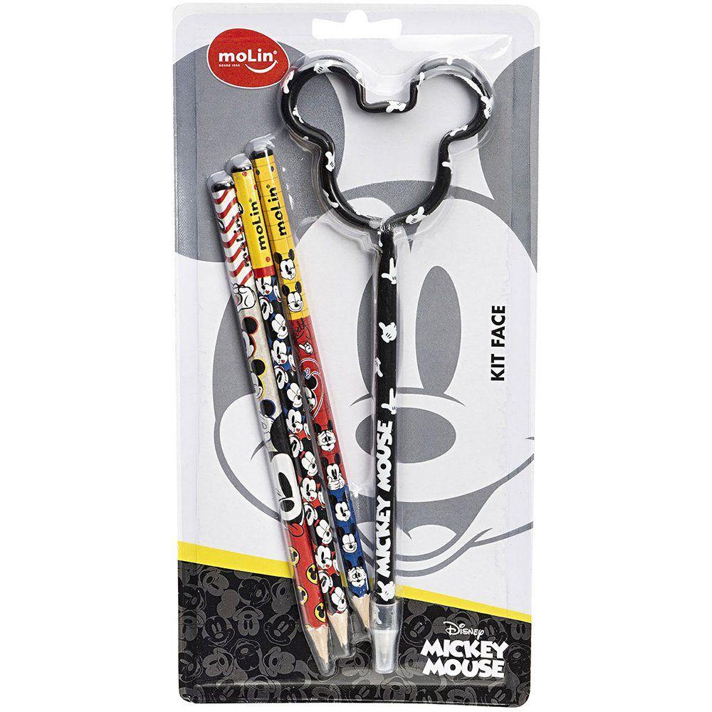 Lápis preto n.2 MIckey Face + caneta MIckey sortido 22627 Molin PT 4 UN