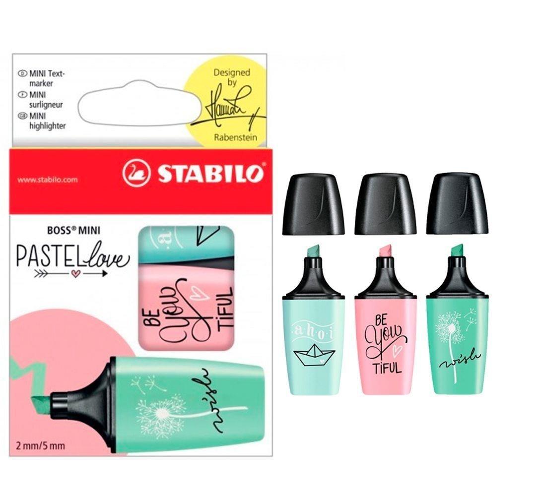 Marca Texto Kit Com 3 Unidades Mini Boss Pastel Love Stabilo