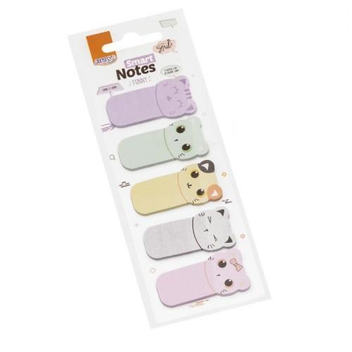 Marcadores Smart Notes Funny Gatos 5 Unid. 25 Folhas Cada 23x45mm BRW