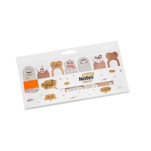 Marcadores Smart Notes Markers Marrom 7 Unid. Com 20 Folhas Cada BRW