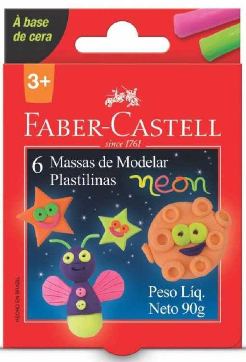 Massa de Modelar Base Cera 6 Cores Neon, Faber-Castell