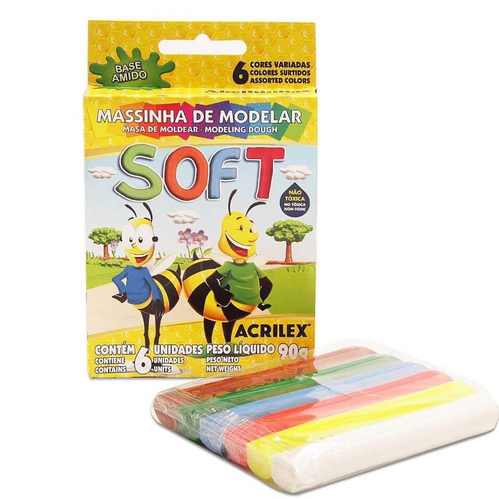 Massa de modelar soft 90g com 6 unidades Acrilex