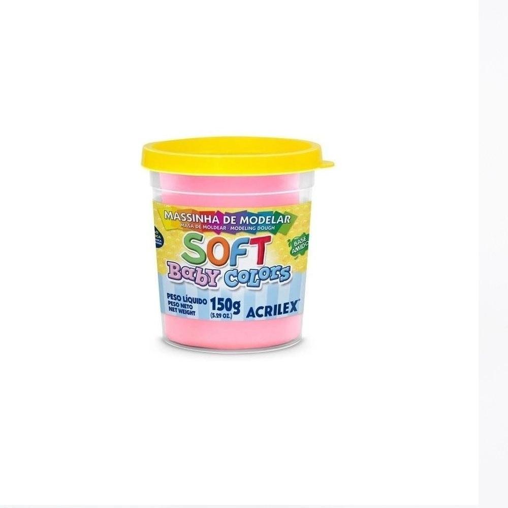 Massinha de Modelar Soft Baby Colors kit com 6 unidades de 150g cada Acrilex