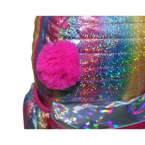 Mochila Escolar Juvenil Colorida Pompom Glitter Clio