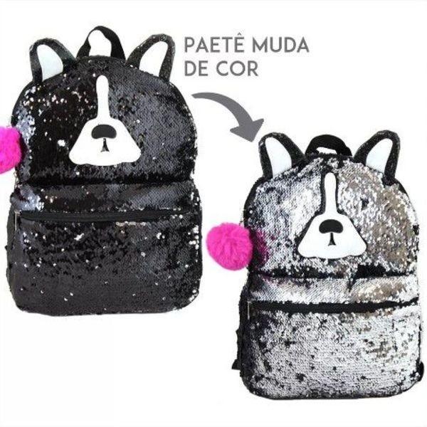 Mochila Paetê de Costas Cachorro Lantejola Muda de Cor Clio Girls